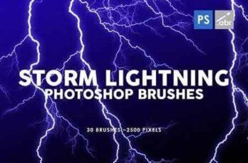 30 Storm Lightning Ptohoshop Stamp Brushes 8