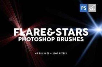 45 Lens Flare & Stars Photoshop Stamp Brushes 2