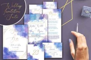 Watercolor Wedding Invitation Suite 3186347 6