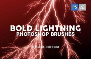 30 Bold Lightning Photoshop Stamp Brushes 8