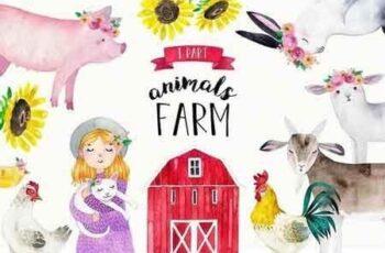 FARM ANIMALS watercolor set PART 1 2334876 4