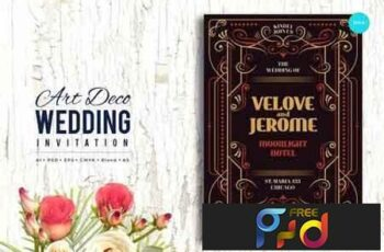 Art Deco Wedding Invitation PSD And Vector Vol 4 2