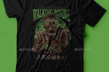 Walking Zombie T-Shirt Design 22801465 7
