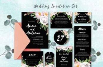 Watercolor Invitations Set 779059 7