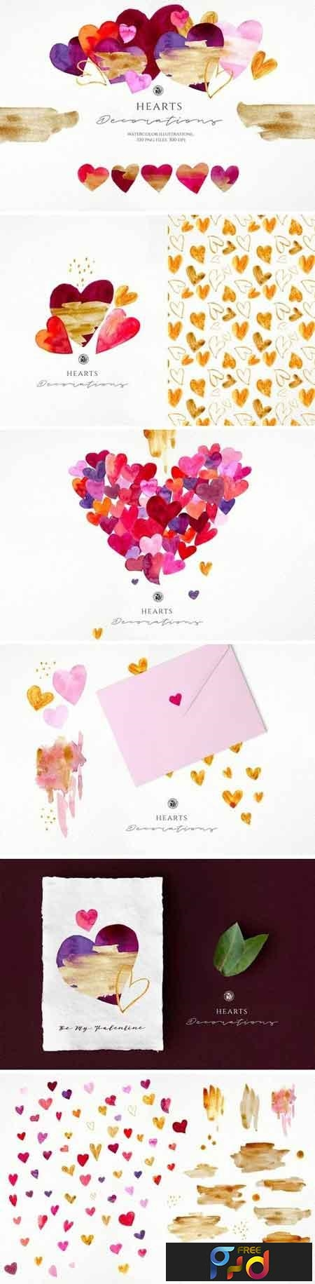 Hearts - watercolor illustrations 3221567 1