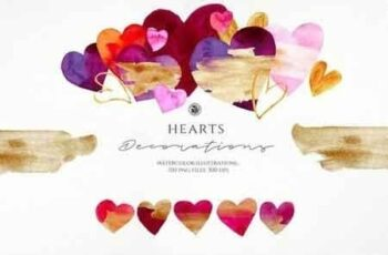 Hearts - watercolor illustrations 3221567 9