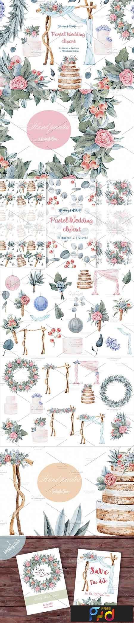 Pastel wedding watercolor clipart 1522384 1