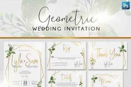Geometric Wedding Invitation 21620415 Freepsdvn