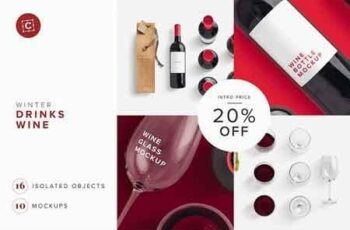 Wine Bottle Glass Bag PSD Mockup 3214180 3