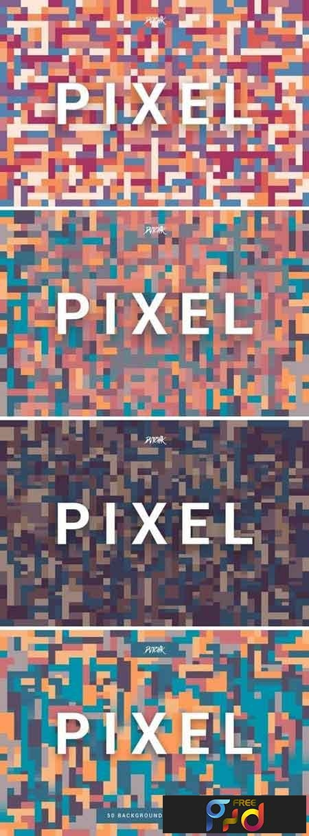 Pixel Colorful Motion Square Backgrounds V. 04 1