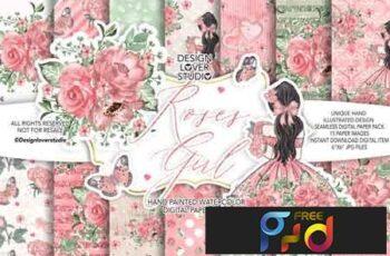 Roses Girl digital paper pack 176773 2