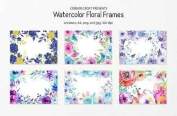 Watercolor Floral Frame Blue and Purple 1