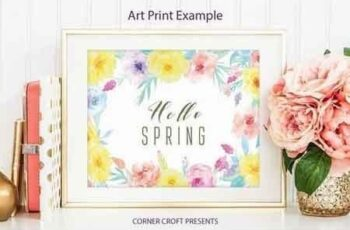 Watercolor floral frame yellow and pink 9
