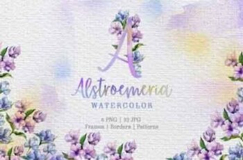 Alstroemeria Violet Watercolor png 3426119 7
