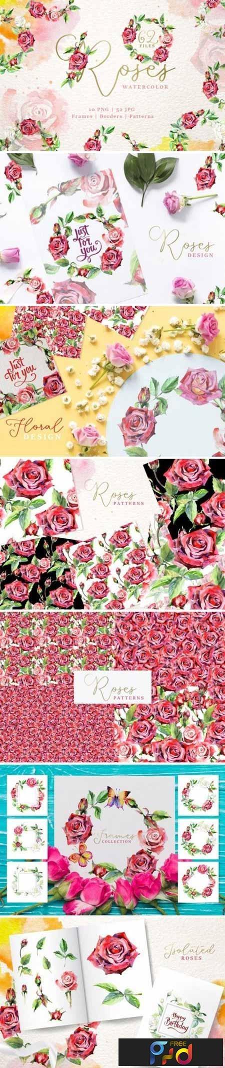 Wonderful watercolor red roses PNG 3437865 1