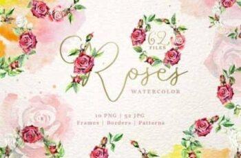 Wonderful watercolor red roses PNG 3437865 3