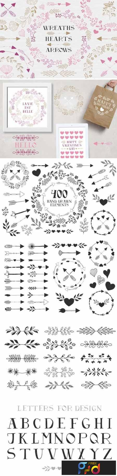Wreaths, hearts, arrows - EPS & PNG 1186313 1