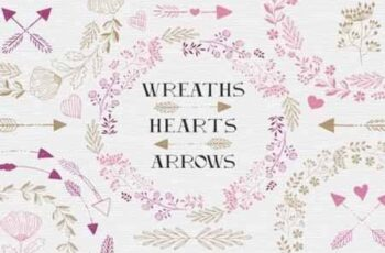 Wreaths, hearts, arrows - EPS & PNG 1186313 3