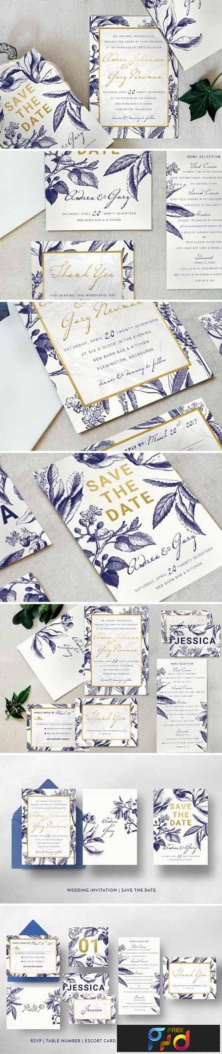 Gold & Navy Wedding Invitation Suite 1035710 1