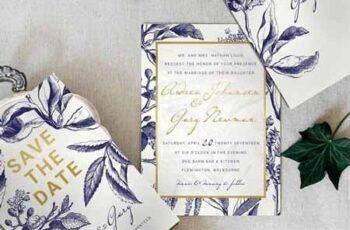Gold & Navy Wedding Invitation Suite 1035710 4