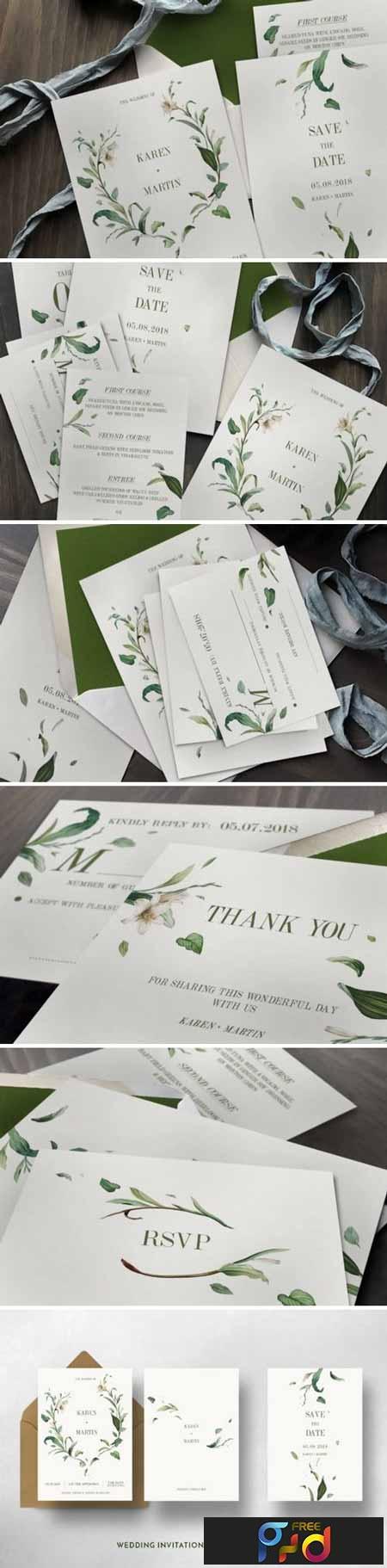 Green Foliage Wedding Invitation Suite 1116824 1