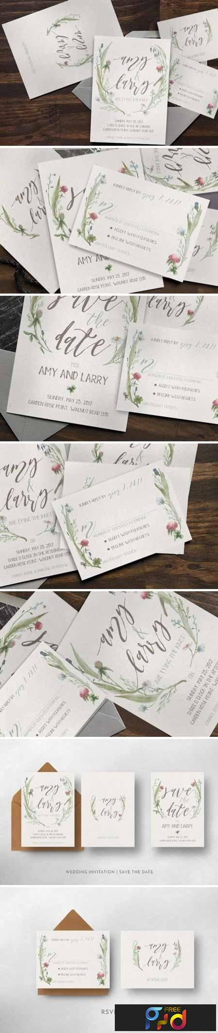 Watercolor Flower Wedding Invitation Suite 892941 1