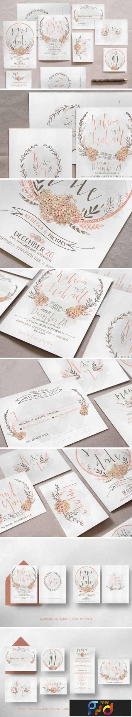 Wreath & Flower Wedding Invitation Suite 799852 1