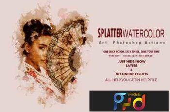 Splatter Watercolor Art Photoshop Actions 3531619 8