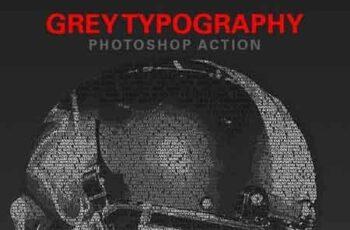 Grey Typography Photoshop Action 23216263 2