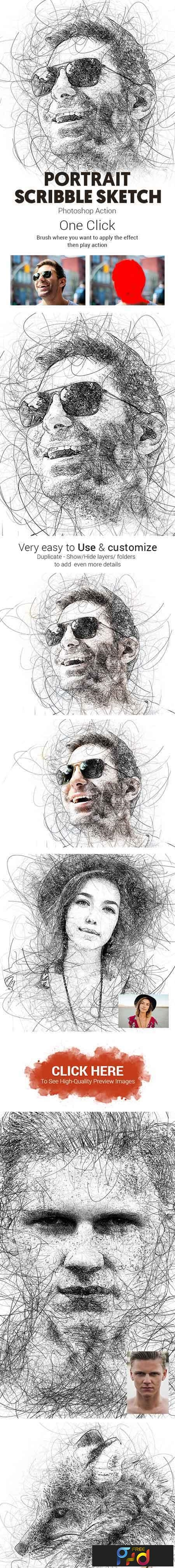 Portrait Scribble Sketch Art Photoshop Action 23191265 1