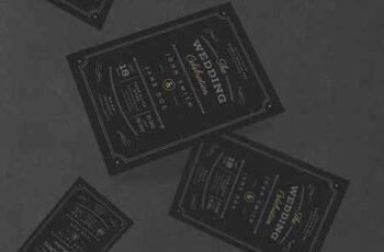 Vintage Black Wedding Invitation 23277198 3