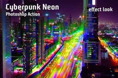 Cyberpunk Neon Photoshop Action 23227583 - FreePSDvn