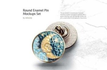 Round Enamel Pin Mockups Set 3421804 5