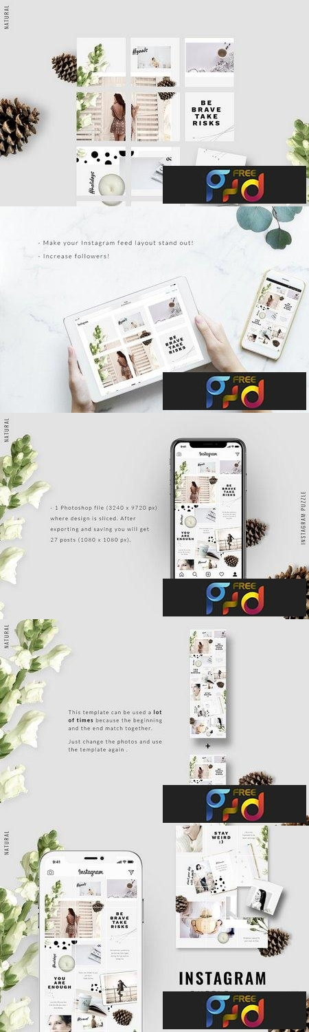 Instagram PUZZLE template - Natural 3396329 - FreePSDvn