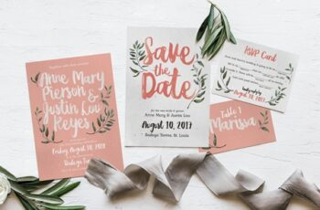 Rustic Pink & Green Wedding Invitation Suite 2079658 5