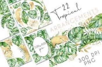 22 Tropical Arrangements watercolor jungle clipart 3434744 5