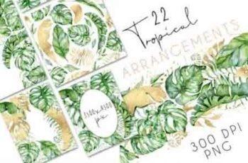 22 Tropical Arrangements watercolor jungle clipart 3434744 4