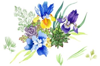Bouquet with blue irises Watercolor 3476263 8