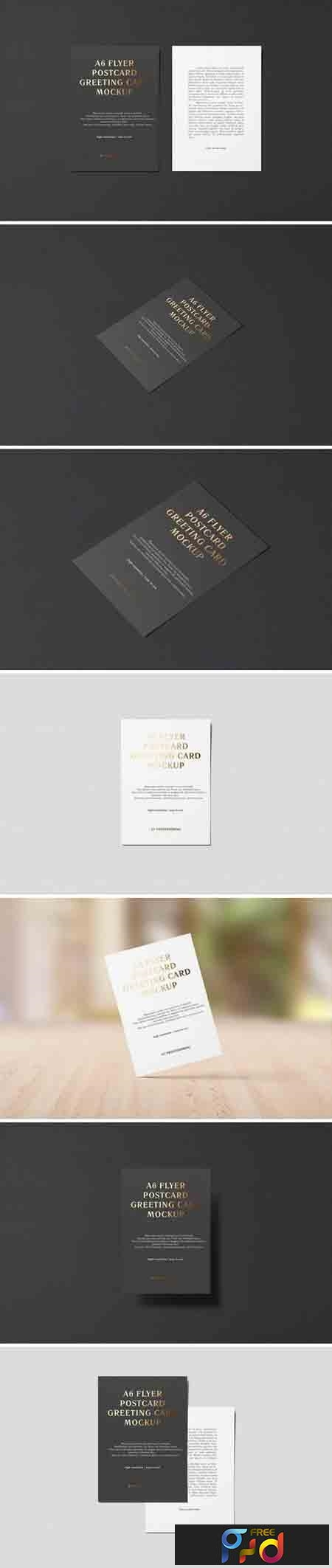 A6 Portrait Flyer, Postcard, Greeting Card Mockup 1