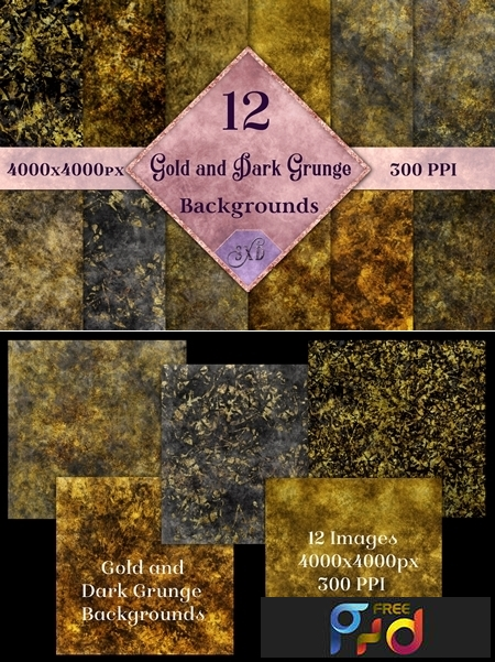 Gold and Dark Grunge Backgrounds 1