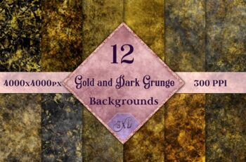 Gold and Dark Grunge Backgrounds 16