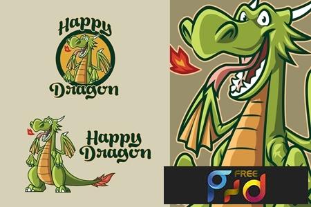 Retro Cartoon Dragon Mascot Logo 1