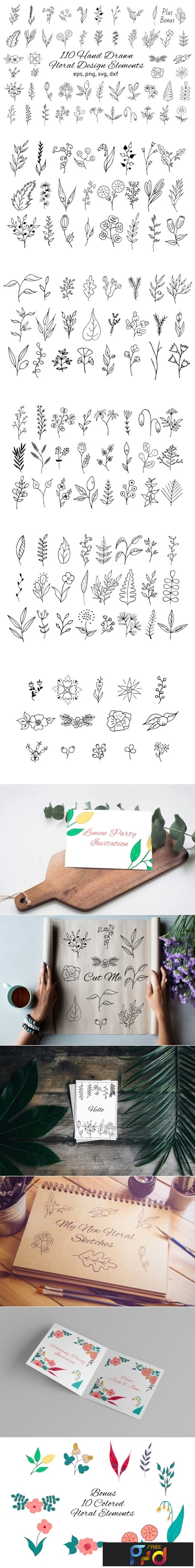 110 Hand drawn Floral Design Elements 1