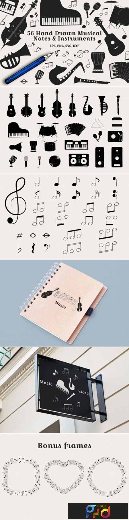 56 Hand Drawn Musical Instruments & Music Notes 1