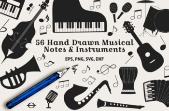 56 Hand Drawn Musical Instruments & Music Notes 4