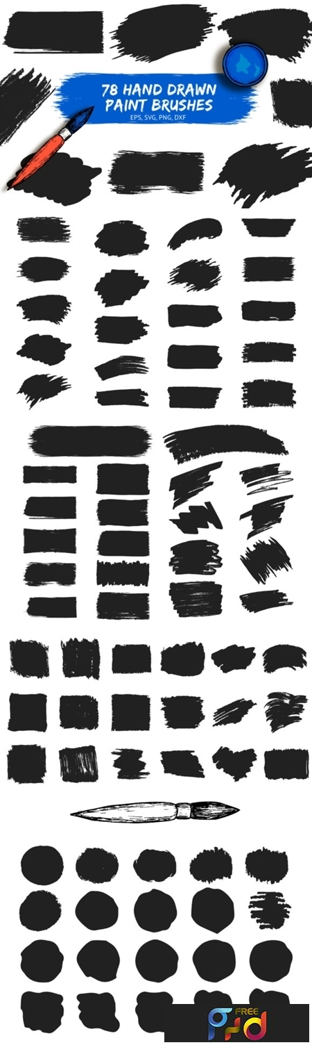 78 Hand drawn Paint Brushes 1