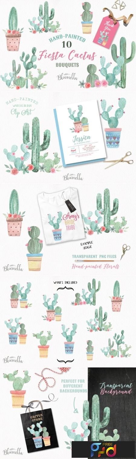 Cactus Watercolor Florals 1