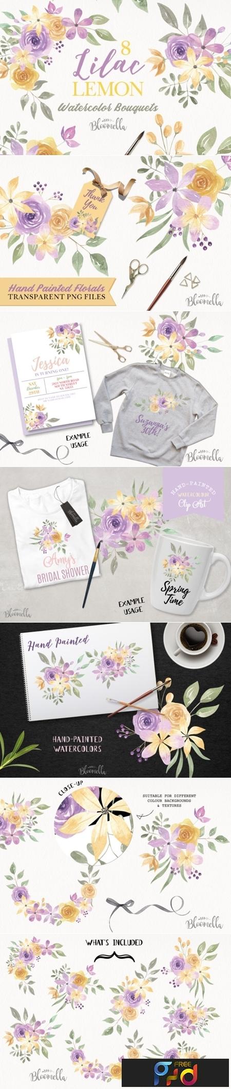 Lilac & Lemon Flower Bouquets 1