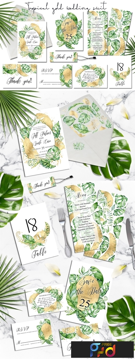 Tropical gold wedding invitation 3483329 1