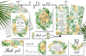 Tropical gold wedding invitation 3483329 4